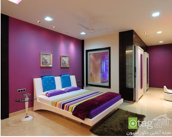 دکوراسیون اتاق خواب دخترانه بنفش رنگ شیک و رمانتیک